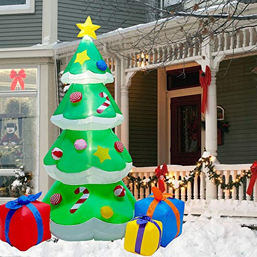 DR.DUDU 7 FT Inflatable Christmas Tree with Led Lights, Lighted Christmas Tree for Blow Up Yard Decoration, Indoor Outdoor Yard Garden Christmas Decoration
