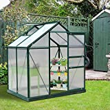 6x4/6/8x7FT Greenhouse Aluminum Frame Walk-in Outdoor Plant Garden Polycarbonate (Color : 4ft)