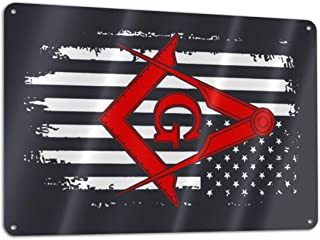 KZANSUI Personalized Painting American Flag Mason Masonic Freemasons 11.8 X 7.9 in Metal Tin Sign Funny Iron Tag Plaque Wall Art Poster for Pub Decoration