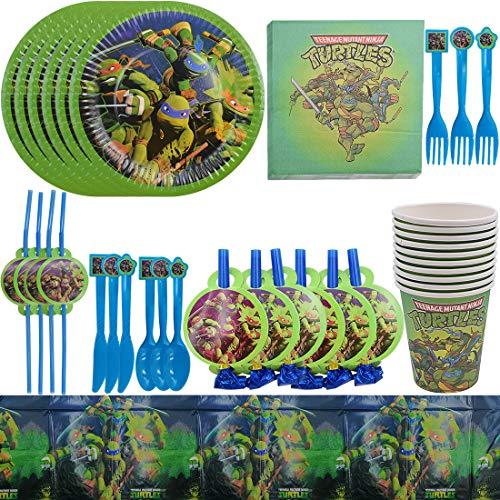 87 Pack Ninja Turtles Suministros de fiesta ZSWQ-Happy Birthday Ninja Turtles Party Supplies,Shower Decoración,Fiesta de Bienvenida Niño Bandera - Servilletas, Blowouts
