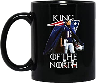 Tom Brady New England Patriots 12 King of the North 11 oz. Black Mug Coffee/Cocoa Mug & Tea Cup Gift Pretty Best Gift for Birthday Easter Christmas for Son.