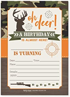 25 Deer Hunting Kids Birthday Invites or Slumber Party Invitations, Boy Camo Camping Themed Sleepover, Children or Toddlers Camouflage Bday Theme Printable Supplies, Printed or Fill In the Blank Cards