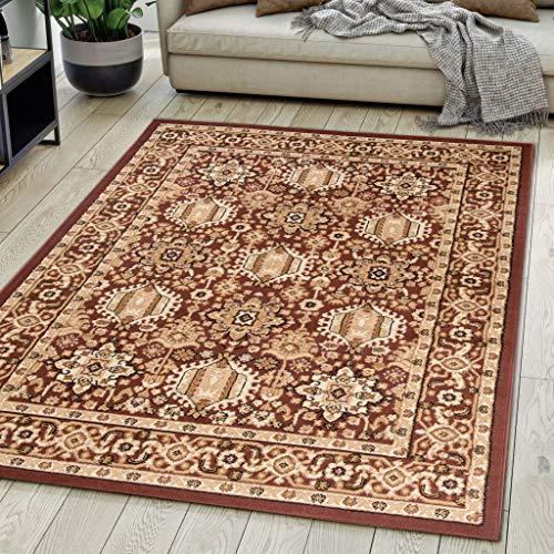 Carpeto Rugs Teppich Orientalisch Braun Klassisch Muster Kurzflor Öko-Tex Wohnzimmer 140 x 200 cm