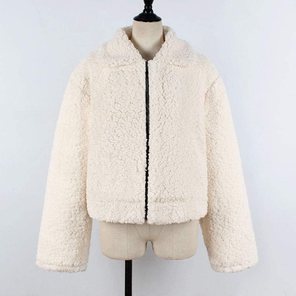 Lulupi Plüschjacke Damen Reißverschluss Pullover, Plüsch Mantel Künstliche Wolle Jacke Parka Outwear Frauen Kurze Coat Teddy Fleece Pulli Beige