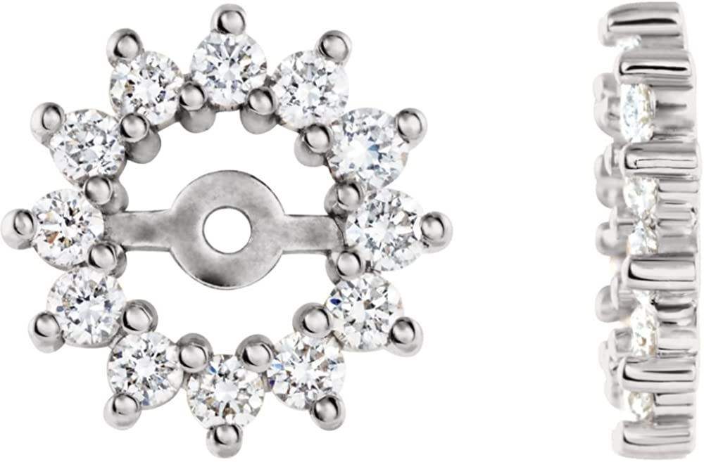 Jewels By Lux 14k White Gold Pair 1/2 Cttw Polished Diamond Earring Jacket