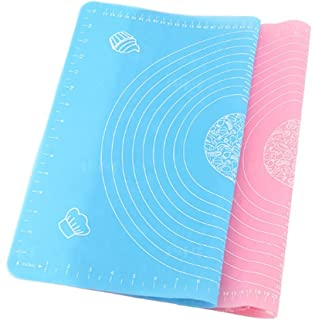 2 Pcs Silicone Pastry Mat Rolling Pin Mat with Measurements Nonstick Kneading Board for Rolling Dough Reusable Thicken Pad Pie Bread Cookie Sheet Baking Oven Mat Placement Pad(Pink and Blue)