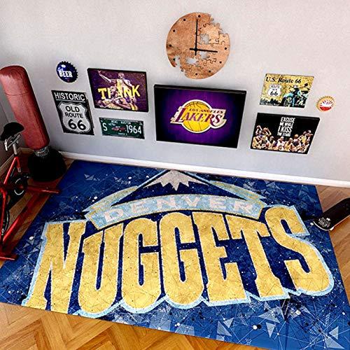 WYBY Nuggets Logo Stadium Teppich, weiche und komfortable Nichtfaserabstufung Teppichboden, Bettwohnzimmer Sofa Couchtisch Schlafzimmer Fußmatte 200 * 300cm