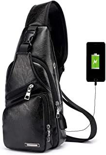 Vintage Men's Leather Sling Bag,Chest Shoulder Backpack, Water waterproof Crossbody Bag with USB Charging Port -Black