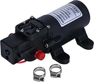 Camptemp 12V DC Fresh Water Pump with 2 Hose Clamps 12 Volt Diaphragm Pump Self Priming Sprayer Pump with Pressure Switch 4.3 L/Min 1.2 GPM 35 PSI Adjustable for RV Camper Marine Boat Lawn