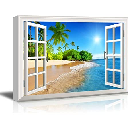 Wall26 Canvas Print Wall Art Window Frame Style Wall Art Beautiful Tropical Beach With White Sand Clear Sea And Palm Trees Under Blue Sunny Sky 24 X 36