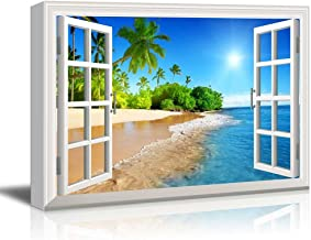 wall26 Canvas Print Wall Art - Window Frame Style Wall Decor - Beautiful Tropical Beach with White Sand,Clear Sea and Palm Trees Under Blue Sunny Sky - 24