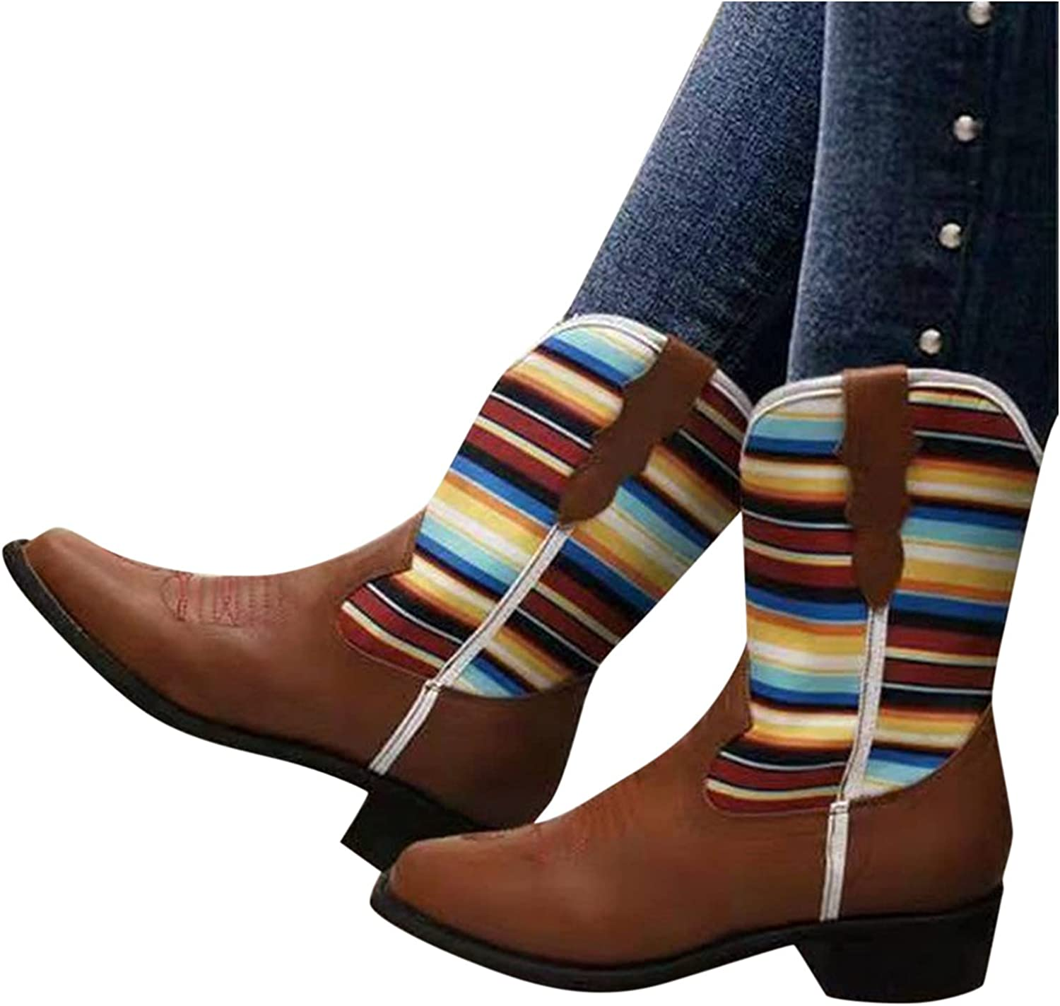 Hbeylia Cowboy Boots For Women Vintage Leather Splicing Rainbow Pointed Toe Western Cowgirls Boots Retro Chunky Low Heels Wide Mid Calf Short Boots For Riding Motorcycle