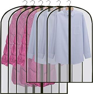 GoMaihe Fundas de Ropa 6 PCS, 60 x 120 / 100cm Bolsa de Traje Transparente Bolsas de Ropa, Vestido de Noche Vestido de Novia Abrigos Camisas Polilla Protección Repelente al Agua, Negro