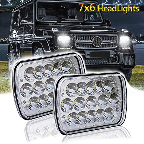 LEDMIRCY 5x7 LED Headlights Dot Approved Rectangular Headlight 2PCS 90W High Low Sealed Beam Square 7x6 Inch Headlamp for Jeep Cherokee Off-Road Truck Replace H6054 H5054 H6014 H6052 6053