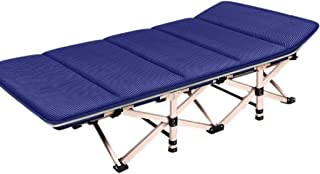 Loungers Folding Bed Office Lounge Comfortable Breathable Mesh Single Lunch Break Folding Bed Beach Bed Portable Adult Camping Bed (Color : Blue, Size : 190 * 71 * 36cm)