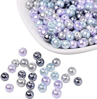 PandaHall Mezcla de Perlas de Vidrio nacarado Perlado Gris Plateado, Color Mezclado