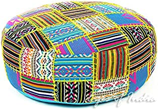 Eyes of India - 24 X 8 Black Dhurrie Round Pouf Pouffe Ottoman Cover Floor Seating Bohemian Boho Indian