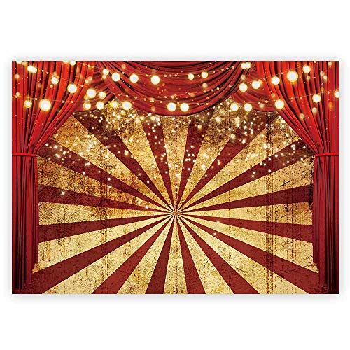 Funnytree Golden Glitter Red Curtain Photography Backdrop Circus Carnival Sparkle Stripes Background Baby Shower Birthday Party Potrait Cake Table Decoration Banner Photo Booth Props 7x5ft
