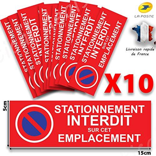 TDS Autocollant STATIONNEMENT Interdit - 15cm x5 Lot de 10