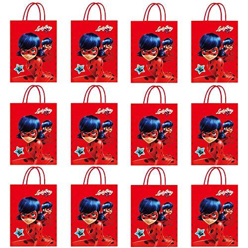 Bolsa de Regalo de 12 piezas de Ladybug Theme, Bolsa de Papel Portátil, Bolsa de Dulces, Bocadillos, Galletas y Pastelería, Bolsa de Papel kraft Reutilizable, Bolsa de Asas
