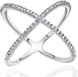 White Rose Gold Plated X Ring CZ Criss Cross Crossover Stackable Ring for Women Size 6 7 8 9