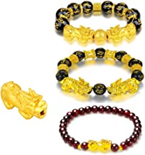 EagleWings 3 Pcs Feng Shui Bracelets Prosperity Mantra Beads Double PiXiu | 12mm Obsidian & 6mm Garnet | Attracts Blessings Health Luck & Protection | Engraved Sanskrit Mantra | 18K Gold Plated PiYao