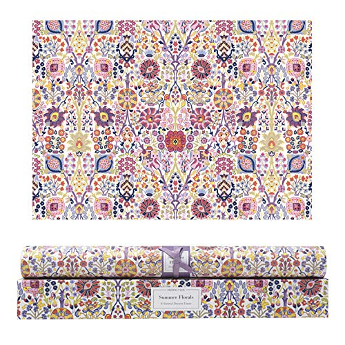 Merriton Scented Drawer Liners, Fresh Scent Paper Liners for Cabinet Drawers, Dresser Shelf, Linen Closet, Perfect for Kitchen, Bathroom, Vanity (6 Sheets) (Summer Florals)