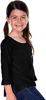Kavio! Little Girls 3-6X Sheer Jersey Ruffled 3/4 Sleeve High Low Top