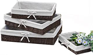 Panier de rangement Paniers de papier à la main Weave Ensemble de rangement de 4, décoratif Stockage Bins Paniers décorati...