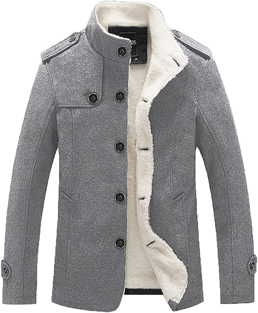 Men Wool Blend Coats Fashion Men's Solid Color Coat Clothing Male Thick Warm Overcoat