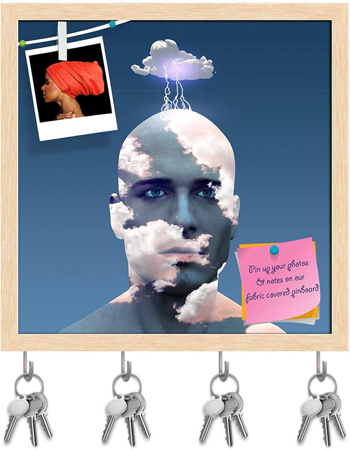 Artzfolio Head in Clouds Key Holder Hooks   Notice Pin Board   Natural Brown Frame 20 X 20Inch