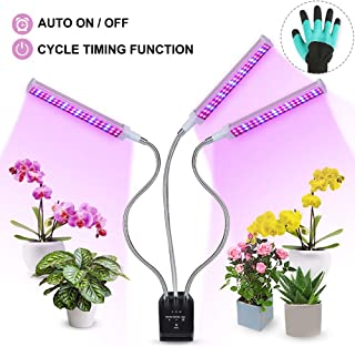 Grow Lights for Indoor Plants, Auto ON & Off Triple Head Plant Light with Timer, 144 LEDs Plant Grow Lamp, 3/6/12H Memory Timing & 0-100% Stepless Dimming Mode, Sulike Full Spectrum