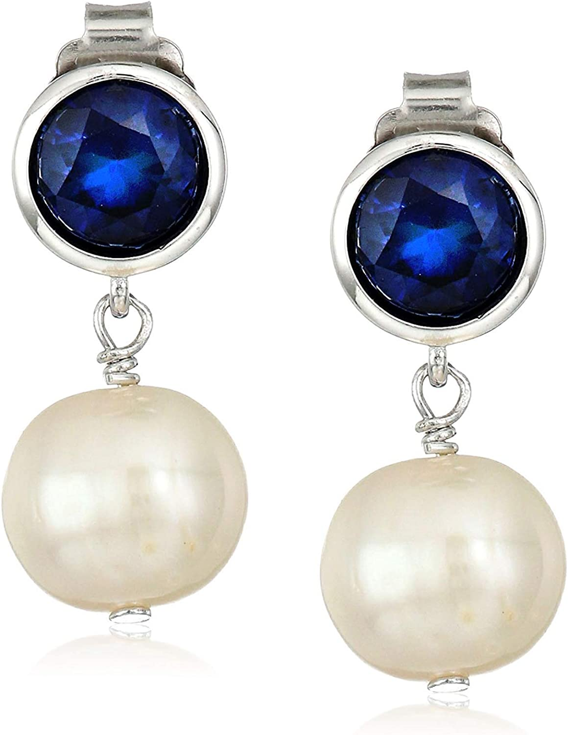 We OFFer at cheap prices 925 Year-end gift Sterling Silver Bezel-Set Gemstone 8mm Birthstone and White