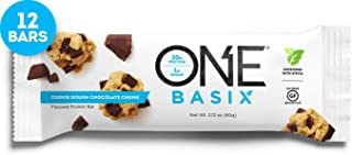 ONE Basix Protein Bars, Cookie Dough Chocolate Chunk, Gluten Free Protein Bars with 20g Protein and only 1g Sugar, Guilt-Free Snacking for High Protein Diets, 2.12 oz (12 Pack)