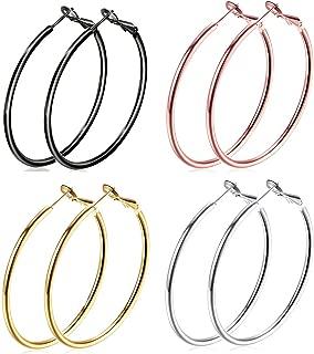 4 Pairs Big Hoop Earrings, 60mm Stainless Steel Hoop Earrings in Gold Plated Rose Gold Plated Silver Black Colors for Women Girls