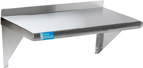"AmGood 30"" Long X 18"" Deep Stainless Steel Wall Shelf | NSF Certified | Appliance & Equipment Metal Shelving | Kitchen, Re..."