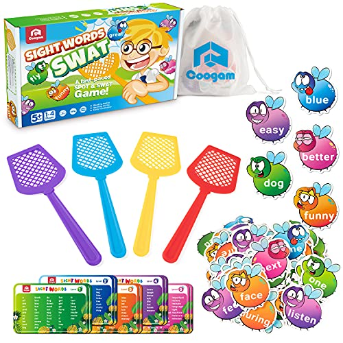 Coogam Sight Words Swat Game with 400 Fry Site Words and 4 Fly Swatters Set, Dolch Word List Phonics, Literacy Learning Reading Flash Cards Toy Games for Kindergarten,Home School Kids 3 4 5 Year Old