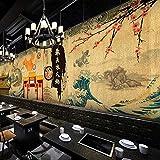 Papel pintado de pared con diseño japonés de dibujos animados, estilo japonés, estilo retro