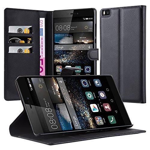 Cadorabo Hülle für Huawei P8 MAX in Phantom SCHWARZ - Handyhülle mit Magnetverschluss, Standfunktion & Kartenfach - Hülle Cover Schutzhülle Etui Tasche Book Klapp Style