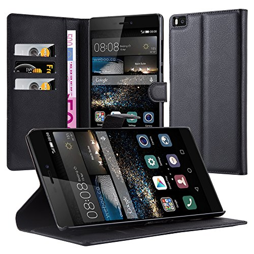 Cadorabo Book Case Works with Huawei P8 MAX in Oxid Black – with Magnetic Closure, Stand Function and Card Slot – Wallet Etui Cover Pouch PU Leather Flip