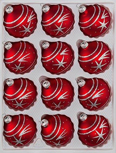12 TLG. Glas-Weihnachtskugeln Set in Classic Rot Silber Komet- Christbaumkugeln - Weihnachtsschmuck-Christbaumschmuck