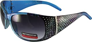 Global Vision Rainbow Motorcycle Sunglasses Crystal Color Blue Rhinestone Decorated Frames Gradient Smoke Lenses