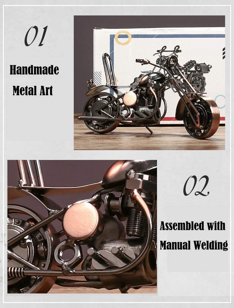 Bronze N//G Creative Retro Hand Soldering Wrought Iron Art Harley Motorcycle Model Moto Collection Simple Modern Home Decor Ornaments for Motorcycle Lovers or Kids
