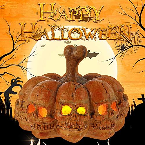 You's Auto Zucca di Halloween Decorativa con LED a Batteria Zucca Scheletro Decorazione Leggera per Casa Esterno Interno Festa
