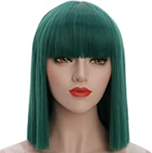 karlery Straight Short Hair Bob Wigs with Flat Bangs Synthetic Wigs for Women Natural As Real Hair (Green)