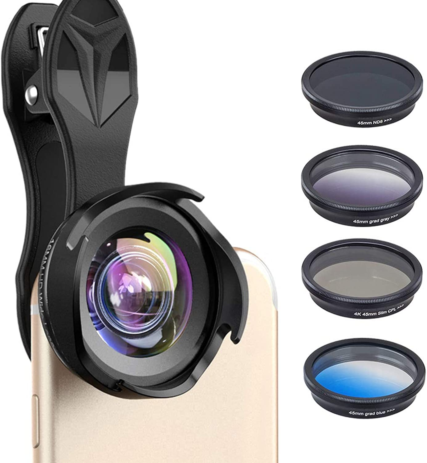 6in1 Mobile Phone Lens Kit Polarization Filter ND Gradient Set Universal External Lens 16X Telescope Lens for iPhone Xiaomi Samsung Huawei and Most Smart Phones Telescope