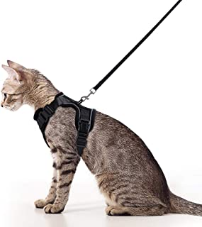 Rabbitgoo Cat Harness and Leash Set for Walking, Escape Proof with 59 Inches Leash - Adjustable Soft Vest Harnesses for Small Medium Cats, Cat Leash Harness with Reflective Strips & 1 Metal Leash Ring