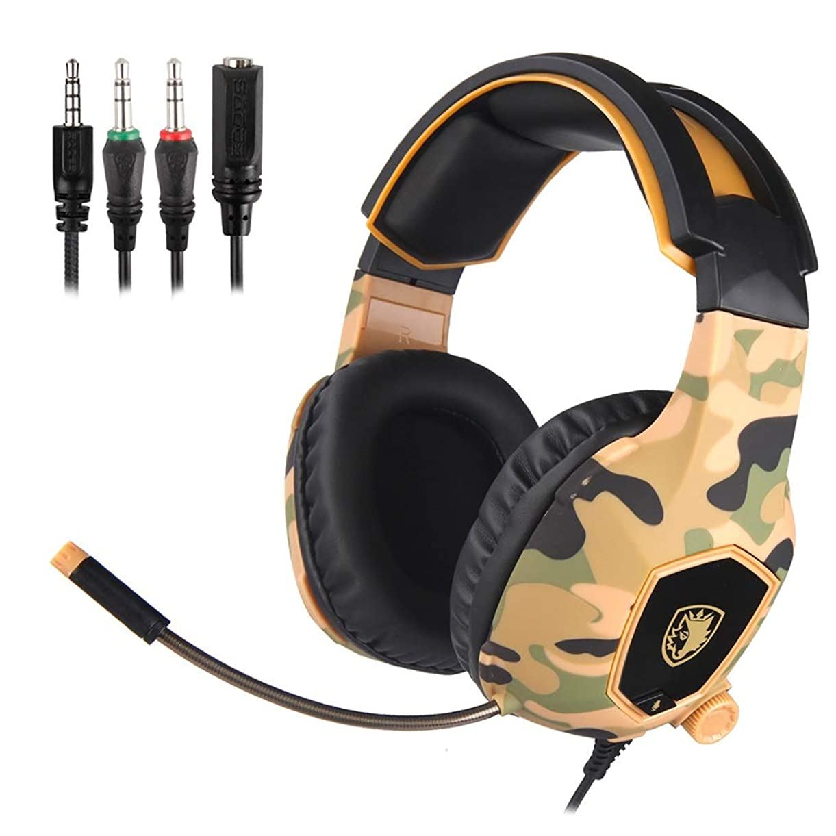 Noise Cancelling Surround Sound Gaming Headphones-3.5mm Comfortable Soft Memory Earmuffs with Mic,for PC Laptop Computer Mobile Phone (Color : Camouflage Yellow) uodua3761