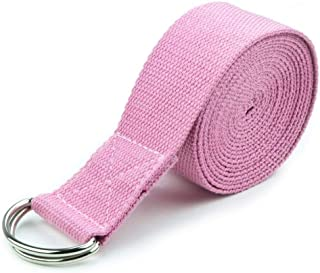 (Pink) - 3M Extra-Long Cotton Yoga Strap with Metal D-Ring by Crown Sporting