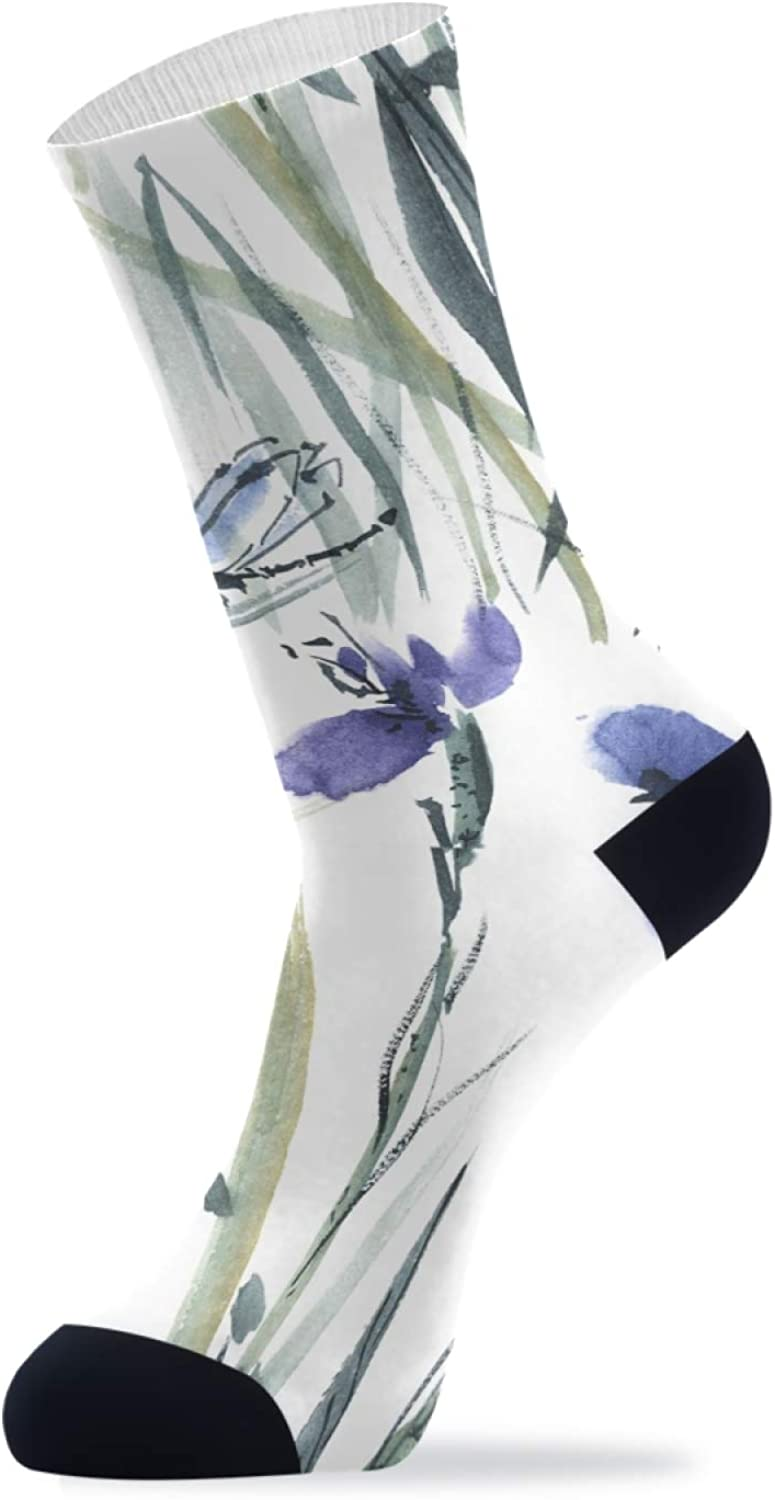 ZZAEO Ink Painting Purple Flower Dragonfly Crew Socks, 2 Pairs Unisex Novelty Casual Socks For Women Men Gifts